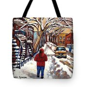 Winter Walk After The Snowfall Best Montreal Street Scenes Paintings Canadian Artist Paysage Quebec Tote Bag