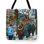 Buy Best Original Canadian Winter Scene Art Downtown Montreal Paintings Achetez Scene De Rue Quebec  Tote Bag