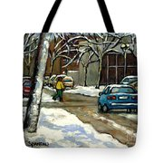 Canadian Artist Winter Scenes Original Paintings Quebec Streets Achetez  Montreal Art Online Tote Bag
