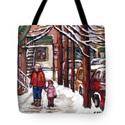 Canadian Winter Scene Paintings Original Art Verdun Montreal Achetez Scenes De Rue Quebec C Spandau  Tote Bag