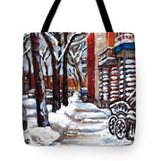 Canadian Winter Scene Paintings Original Art Verdun Montreal Achetez  Paysages De Quebec C Spandau Tote Bag