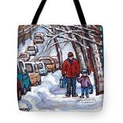 Paysages De Verdun Quebec A Vendre Original Verdun Montreal Winter Staircase Street Scene Paintings  Tote Bag