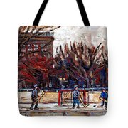 Paysages De Quebec Petits Formats A Vendre Hockey Rink Paintings Psc Original Montreal Street Scenes Tote Bag