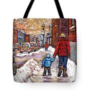 Original Montreal Street Scene Paintings For Sale Winter Walk After The Snowfall Best Canadian Art Tote Bag