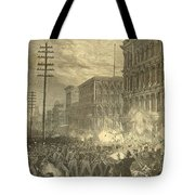 Harpers Sixth Regiment Fighting Railroad Strikers Tote Bag