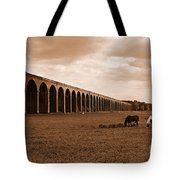 Harringworth Viaduct And Horses Grazing Tote Bag