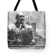 Harry Caray Statue With Historic Wrigley Scoreboard Bw Tote Bag