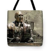 Harry Caray Statue With Historic Wrigley Scoreboard In Heirloom Tote Bag