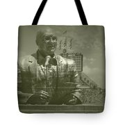 Harry Caray Statue With Historic Wrigley Scoreboard Tote Bag