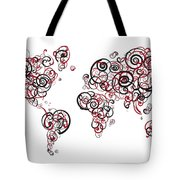 Harvard University Colors Swirl Map Of The World Atlas Tote Bag