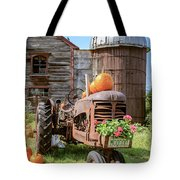 Harvest Time Vintage Farm With Pumpkins Tote Bag