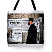Hasadic Jew Reading Pashkevilin  Tote Bag