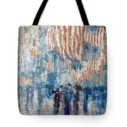 Hassam Avenue In The Rain Tote Bag by Granger