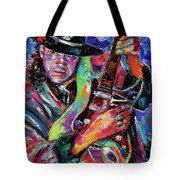 Hat And Guitar Tote Bag by Debra Hurd