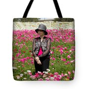 Hatted Lady In A Field Tote Bag