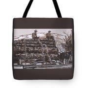 Hauling Logs Historical Vignette Tote Bag