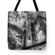 Haunted Church In Black And White Tote Bag