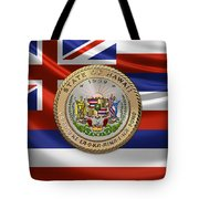 Hawaii Great Seal Over State Flag Tote Bag