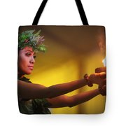 Hawaiian Dancer And Firepots Tote Bag