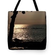 Hawaiian Dugout Canoe Race At Sunset Tote Bag
