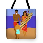 Hawaiian Family Beach Scene Tote Bag