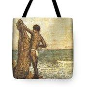 Hawaiian Fisherman Painting Tote Bag