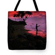 Hawaiian Fishing On Halama Beach At Sunset Tote Bag
