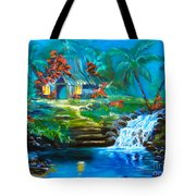 Hawaiian Hut And Waterfalls Tote Bag