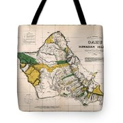 Hawaiian  Islands Map 1881 Tote Bag
