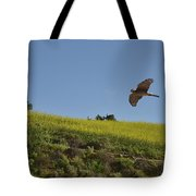 Hawk Flying Over Field Of Yellow Mustard Tote Bag