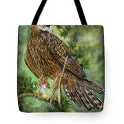 Hawk In The Evergreens Tote Bag by Darren Cannell