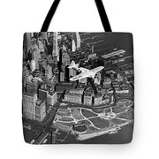 Hawk's Plane Over Battery Park Tote Bag