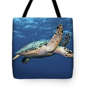 Hawksbill Sea Turtle In Mid-water Tote Bag