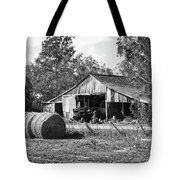 Hay And The Old Barn - Bw Tote Bag