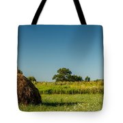 Hay Bale On A Rural Field Tote Bag