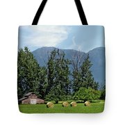 Hay Bales And A Barn - Kalispell Montana Tote Bag