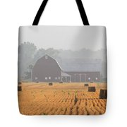 Hay Bales And Red Barn At Sunrise Tote Bag by Jack Schultz
