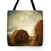 Hay Bales On Farm Field Tote Bag