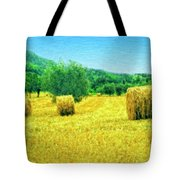 Hay Harvest In Tuscany Tote Bag