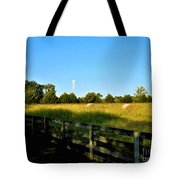 Hayfield With Distant Cell Tower Tote Bag