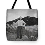 Haymaker With Pitchfork B W Tote Bag