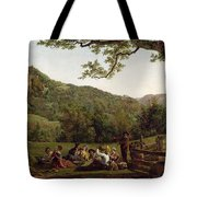 Haymakers Picnicking In A Field Tote Bag