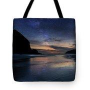 Haystack Rock Under Starry Night Sky Tote Bag