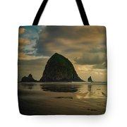 Haystack Sunset Panorama Tote Bag