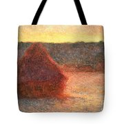 Haystacks At Sunset Tote Bag by Claude Monet