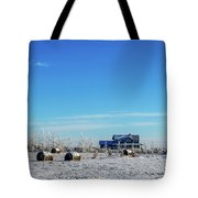 Haystacks In The Snow Before The Sunset Date Tote Bag
