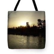 Hazy Mississippi River Sunrise Tote Bag