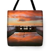 Hdr Sunset Over Harbor And Graffiti Tote Bag