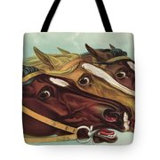 Head And Head At The Winning Post Tote Bag