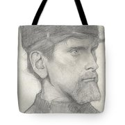 Head Of A Man With A Hat Tote Bag